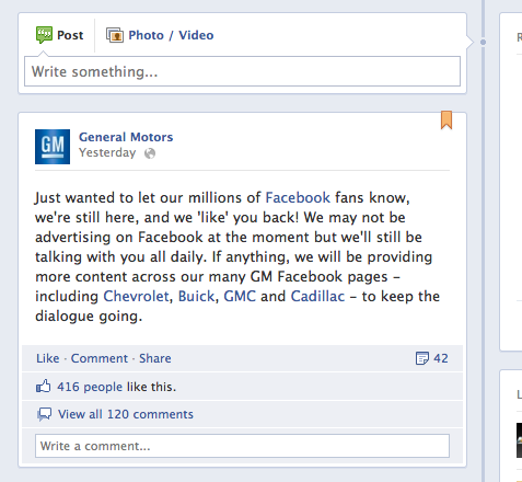 GM Facebook Post After Pulling Facebook Ads