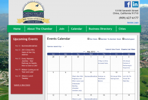 Chino Valley Chamber of Commerce Website - Events Calendar