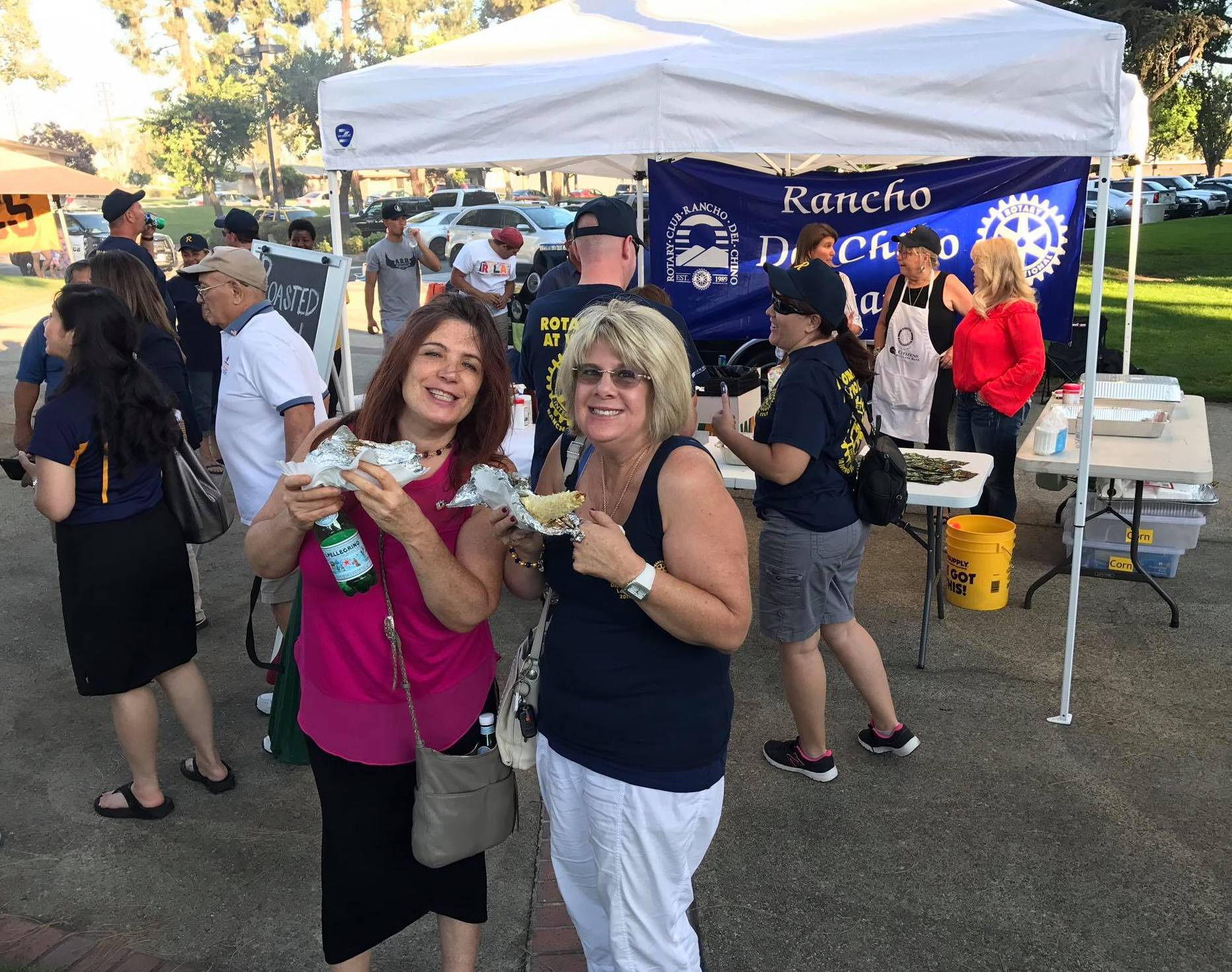 Rotarians Melinda Robbins and Lorraine Sacca at Chino Concerts in the Park