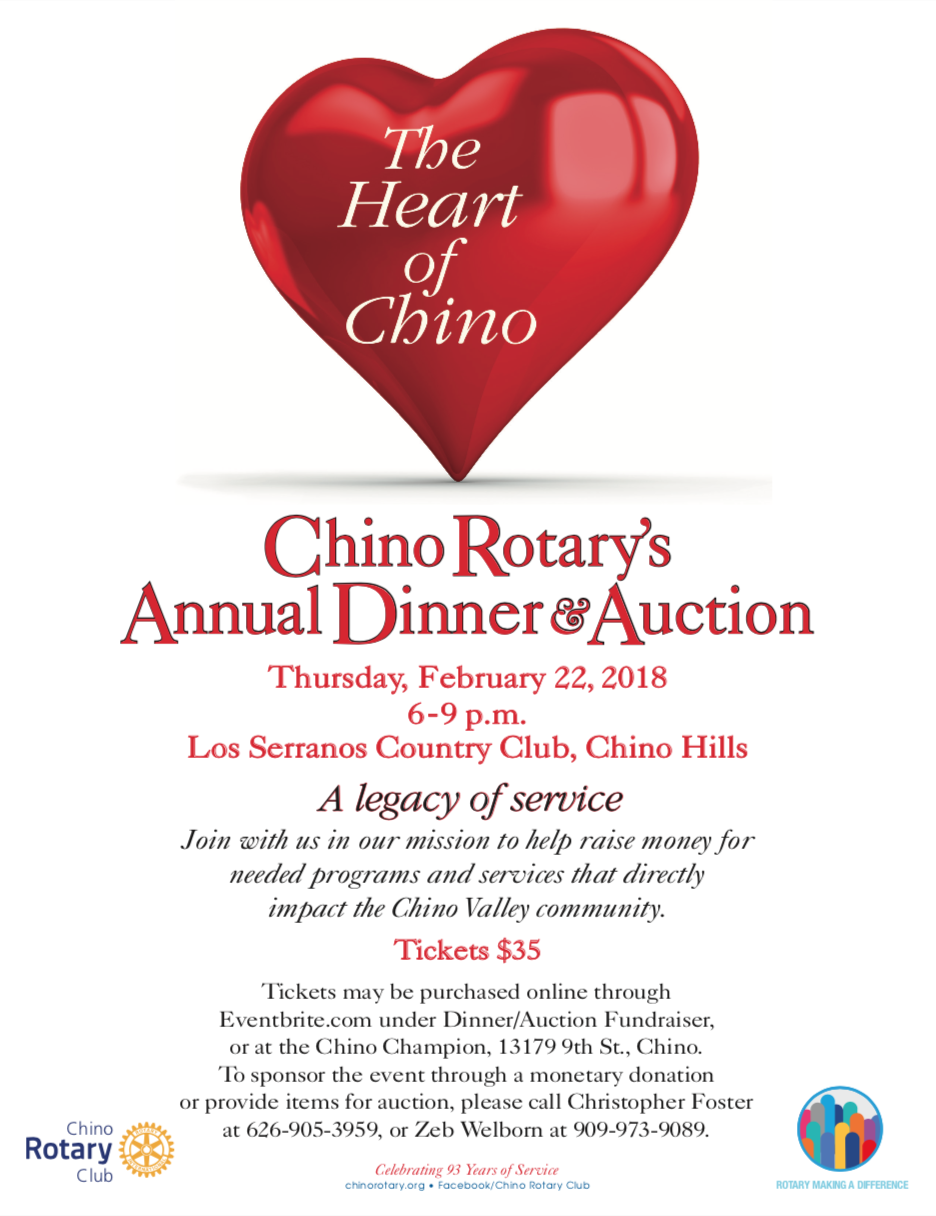2018 Chino Rotary Dinner & Auction Flyer