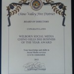 Chino Valley Fire District Board of Directors Congratulates Welborn Social Media Chino Hills 2013 Business of the Year Award