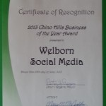 City of Chino Hills Business of the Year Award presented to Welborn Social Media.
