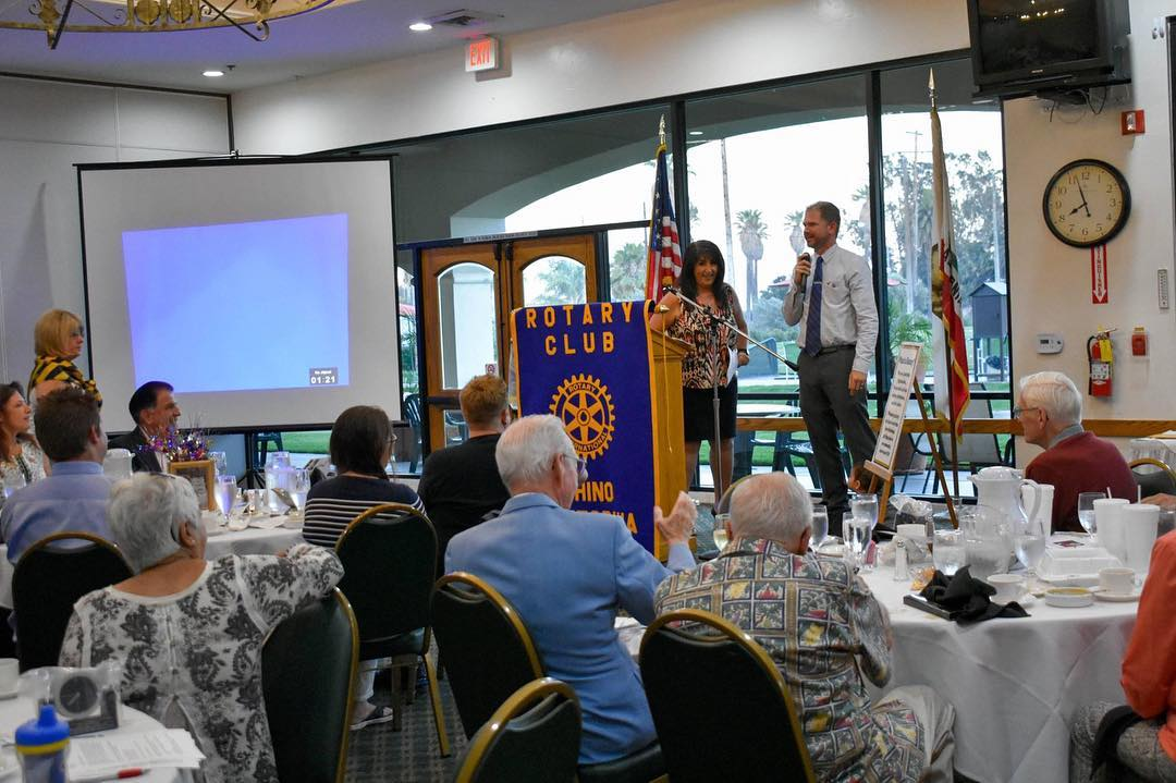 Zeb Welborn Speaking at the Chino Rotary Installation Dinner at Los Serranos Country Club in Chino Hills, CA.