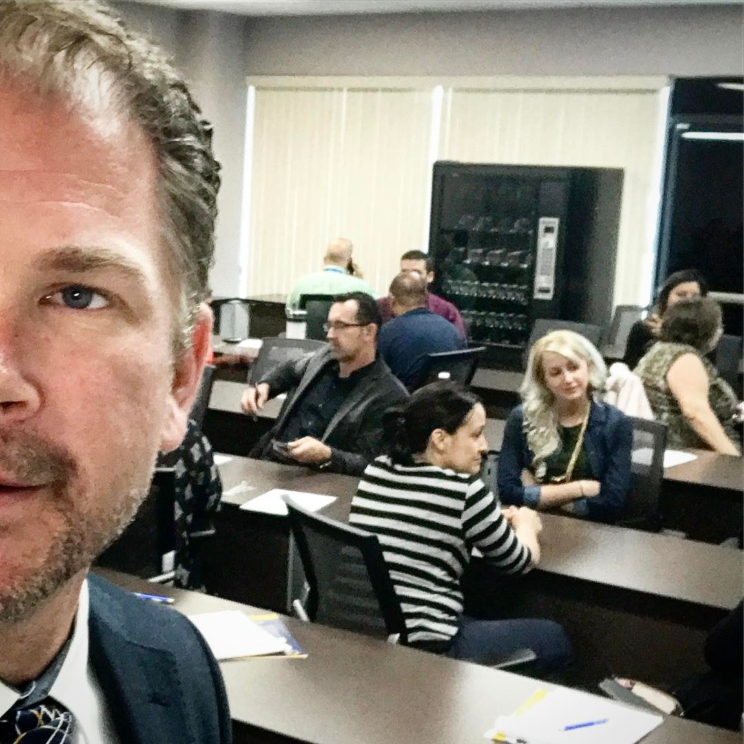 Zeb Welborn speaking in Victorville about social media marketing strategies for businesses with the San Bernardino County Workforce Development Board.